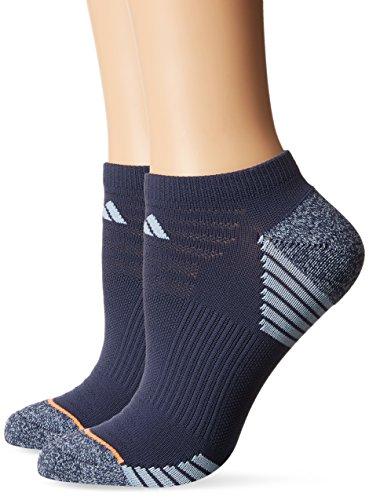 adidas Womens Superlite Speed Mesh No Show Sock (2-Pair), Midnight Grey/Easy Blue - Grey Marl/Glow Orange, Medium, (Shoe Size 5-10)