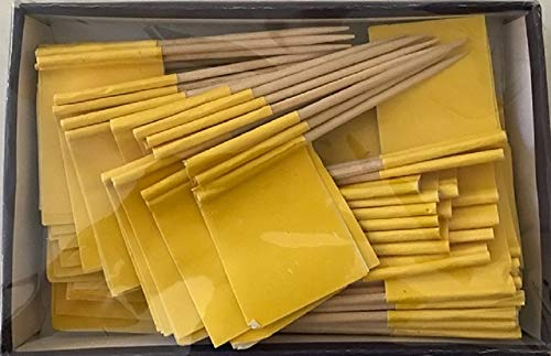 One Box Solid Color Toothpick Flags, 100 Small Mini Colored Flag Toothpicks Or Cupcake Cocktail Picks (100 Yellow Toothpicks) ()