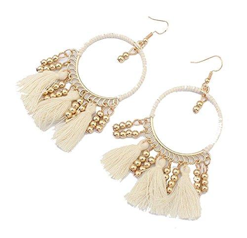 Handcrafted Beads Tassel Eardrop Statement Big Drop Dangle Hoop Long Earrings for Women White