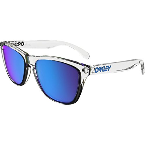 Oakley Frogskins Square Sunglasses, Polished Clear w/Sapphire Iridium, 55 - Oakley Frogskins Womens