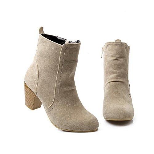 Round Composite Kitten Ladies Leather Toe Heels Beige Boots AdeeSu Imitated 1qBPFUwwS