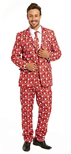 Men's Ugly Christmas Suit Funny Snowman Santa Party Costume - A New Take on an Old Classic for $<!--$34.99-->