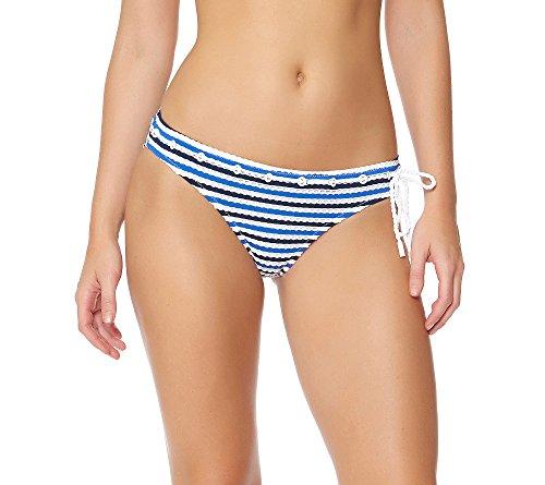 Jessica Simpson Women's Maritime Stripe Classic Hipster Bikini Bottom, Marine/Sapphire, (Rope Stripe)
