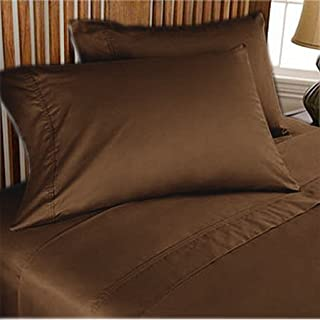 500 TC ULTRA SOFT SILKY 100% EGYPTIAN COTTON 4 PIECE LUXURIOUS SHEET SET SHORT QUEEN CHOCOLATE SOLID BY PEARLBEDDING