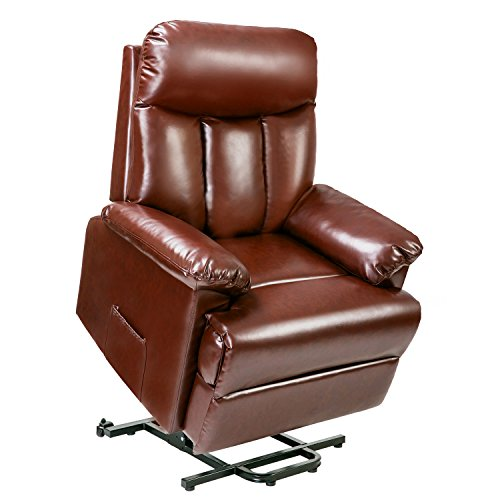 Merax Power Lift Chair Electric Recliner PU Leather Lift Recliner Chair Heavy Duty Steel Reclining Mechanism(Brown Leather)