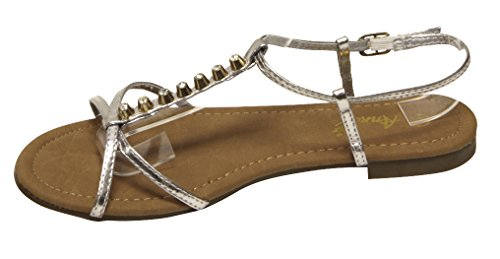 Anna Vita-2 Mujeres Open Toe Stripes T-correa De Oro Stud Rhinestone Decoración Slingback Correa De Tobillo Patente Sandalias De Plata