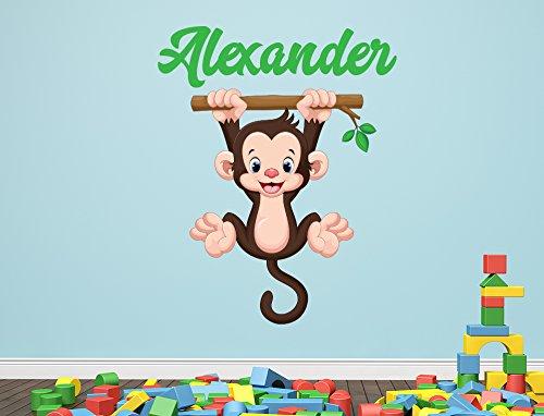 Custom Monkey Name Wall Decal for Boys Jungle Nursery Baby Room Mural Art Decor Vinyl Sticker LD10 (12
