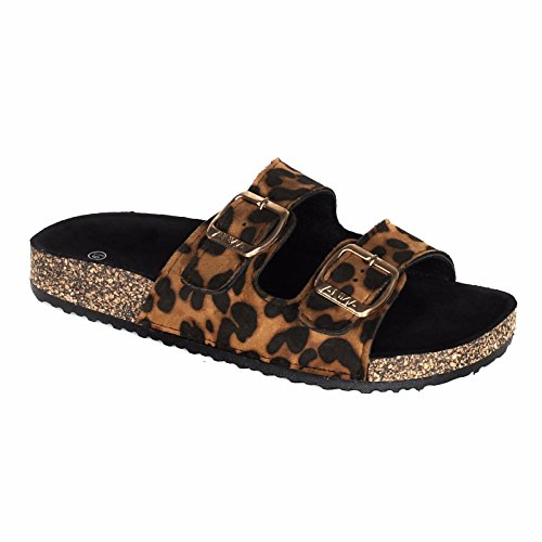 ANNA Women's Casual Buckle Straps Sandals Flip Flop Platform Footbed (8, Leopard)