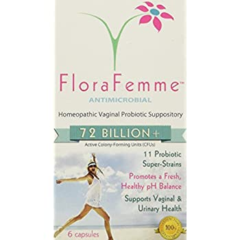 FloraFemme - Vaginal Probiotic Suppository - Clinical Strength, balances Yeast & Bacteria for Feminine Freshness! Helps Restore Vaginal Flora after ...