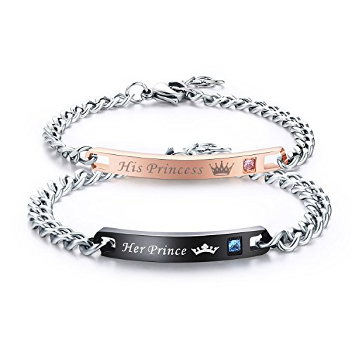 - LAVUMO Couples Bracelets His Princess Her Prince Matching Set Anniversary Promise Gifts Stainless Steel 2pcs (His Princess Her Prince (1 Pair))