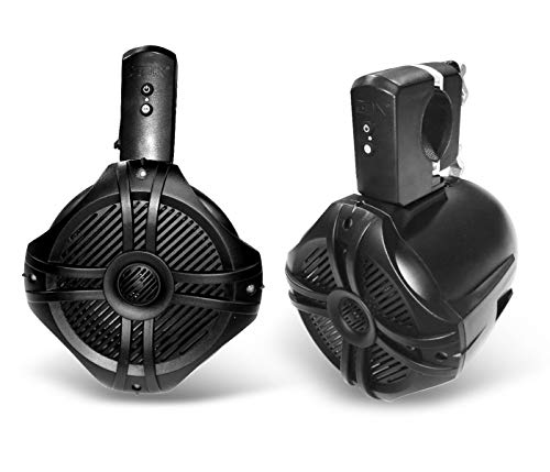 SDX Pro Audio - 6.5 inch 350W Fully Wireless Bluetooth Marine Speaker System (Pair) - Wakeboard Tower/Waketower and Fits Rollbar/Rollcage - Rechargeable, No Wiring/Cables Needed - No Receiver Needed (Best Rated Tower Speakers)