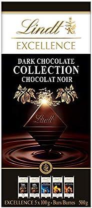 Lindt Excellence Dark Chocolate Collection Bar, 70%, 85%, Sea Salt, Orange and Caramel-Sea Salt, 5 Count, 500g