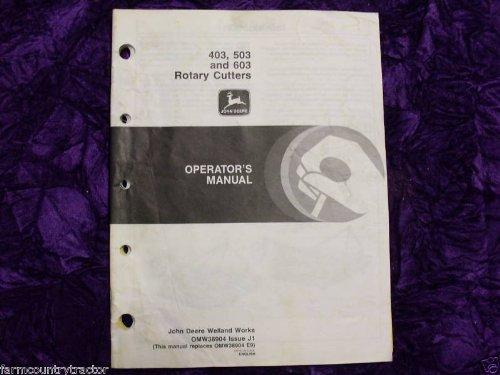 John Deere 403/503/603 Rotary Cutters OEM OEM Owners Manual