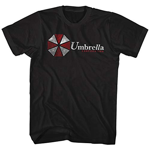 American Classics Resident Evil Horror Science Fiction Film Video Game Umbrella Corp Adult T-Shirt, Black, Large
