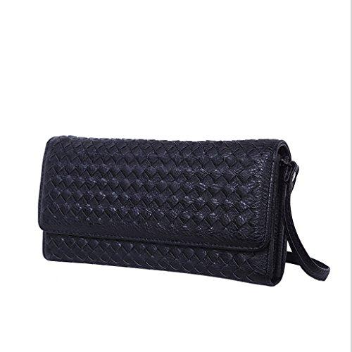 Handbag Nuevo Bolso de Moda, Bandolera Diagonal, Bolsa de Mensajero de Señora, Embrague de Cremallera, Billetera Larga Tejida a Mano. A+ (Color : Pale Pinkish Gray) Black