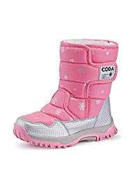 Easondea Girls Boys Outdoor Waterproof Winter Child Snow Boots Warm Faux with Fur Lined Shoes(Toddler/Little Kid/Big Kid)