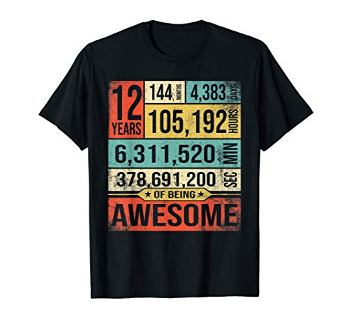12 Years Of Being Awesome Birthday Born in 2007 T-Shirt Gift