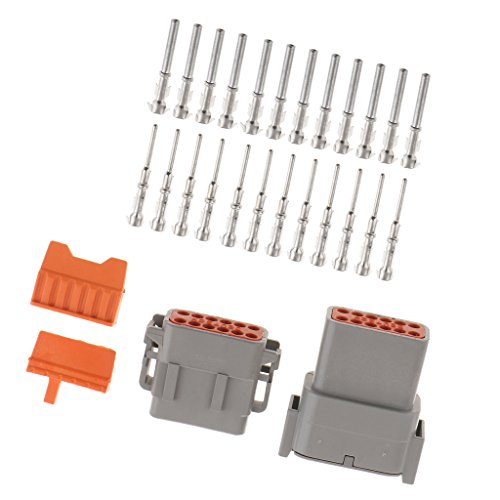 Baoblaze 1 Set Car 12-Pins Sealed Electrical Wire Connector Plugs and Terminals: