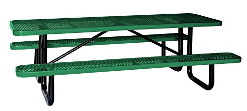Lifeyard Outdoor Decoration, 8' Rectangular Picnic Table, Expanded Metal, Green (96