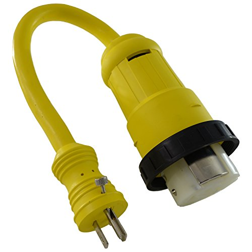 Conntek 14422 RV Pigtail Adapter Standard Plug w/Screw to 50 Amp Locking w/Threaded Ring