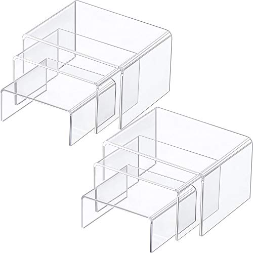 Chuangdi 2 Sets Clear Acrylic Display Risers, Jewelry Display Riser Shelf Showcase Fixtures (3 Sizes A) -