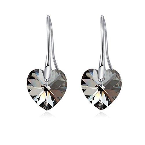 [Myun Elegant Silver-Plated Alloy Hook Austrian Grey Heart Crystal Drop Dangle Earrings for Women] (Simple Halloween Costumes For High School)