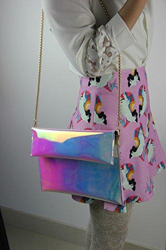 Zarapack bolso de mano mujer de embrague funda de piel sintética bandolera con funda para tarjetas de aparcamiento bolsa de palos de Monedero de - L with Chain
