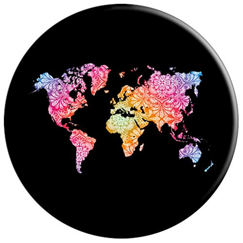 Mandala World Map for Travellers, Adventurer, Travel Gift - PopSockets Grip and Stand for Phones and Tablets by Mandala World Map (Image #2)