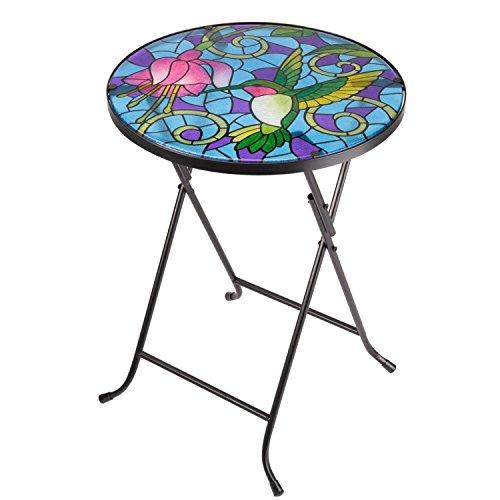 Smart Garden Mosaic Metal Garden Bistro Folding Drinks Table Hummingbird Design by Smart Garden