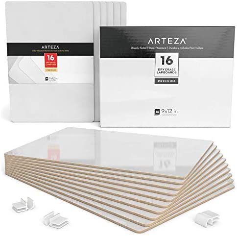 Arteza Dry Erase White Board 9×12 Inch, Bulk Set of 16 Lapboards, Double Sided Dry Erase Whiteboards, Office Supplies for Teachers, Students, Home and Office Work