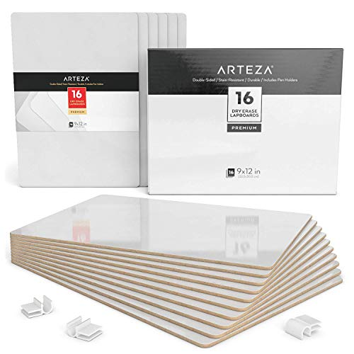 ARTEZA Small White Board, Bulk Set of 16 Double Sided Dry Erase Lapboards 9x12 in Perfect for Teachers, Students, and Office Work ()