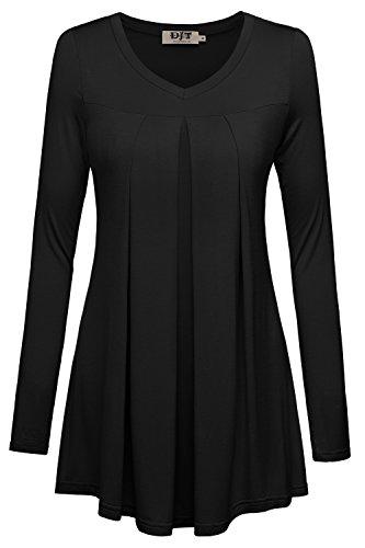 DJT-Top Camiseta para Mujer Estilo Largo Mangas Largas Negro
