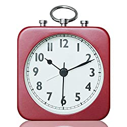 DELIWAY Non Ticking Battery Metal Travel Alarm Clock with Hand-held Ring,Simple to Set Analog Quartz Clocks (Red)