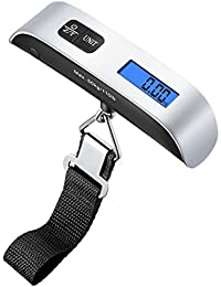 Digital Luggage Scale, 110lb/50kg Hanging Portable Travel Electronic Suitcase Scale, Backlight LCD Display, Rubber Paint Handle, Tare Function, Temperature Sensor, Silver (Battery Included)