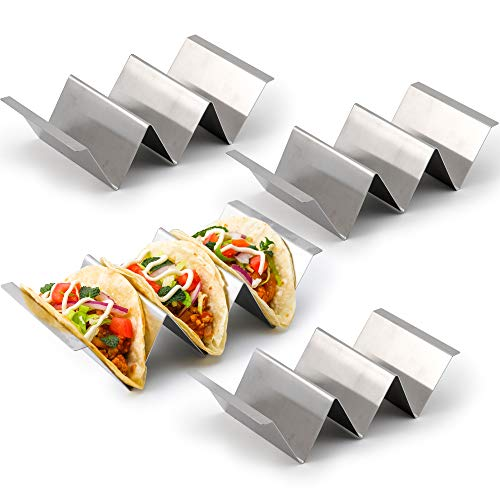 4 Pack - Stylish Stainless Steel Taco Holder Stand, Taco Truck Tray Style, Rack Holds Up to 3 Tacos Each, Oven Safe for Baking, Dishwasher and Grill Safe, Kayaso (4 pack)