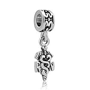 Charmed Craft Angel Charms RN Registered Nurse Charms Caduceus Charms for Bracelets