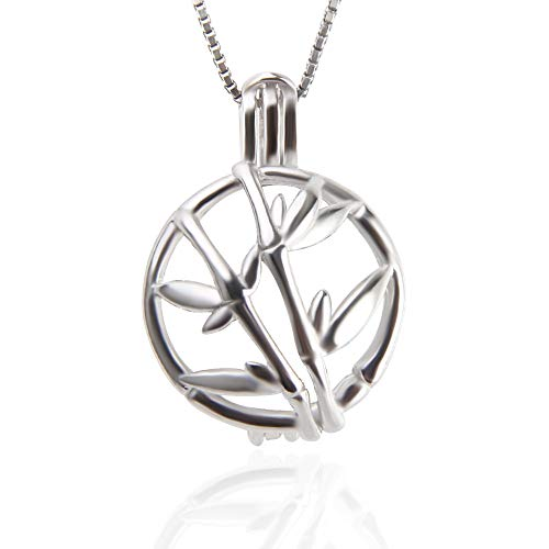 NY 925 Sterling Silver Bamboo Design Pendants for Pearl Jewelry Making Pearl Cage Holder Pendants Lava Stone Essential Oil Diffuser Lockets for Women