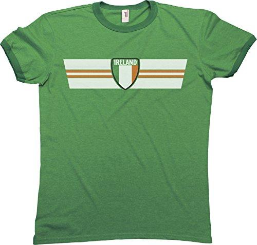 Mens IRELAND RETRO STRIP Patriotic Ringer T-Shirt