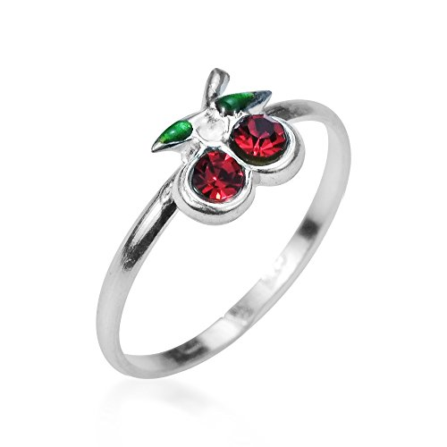 AeraVida Sublime Cherry Inlaid Red Cubic Zirconia .925 Sterling Silver Toe Ring or Pinky Ring