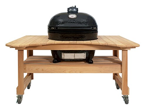 Primo Oval XL 400 Ceramic Smoker Grill On Curved Cypress Table by Primo