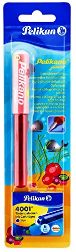 Pelikan Pelikano Jr. Fountain Pen, Right-Handed, Red Pen with 6 Ink Cartridges, Color May Vary 804608 Made in Germany & imported from Germany!
