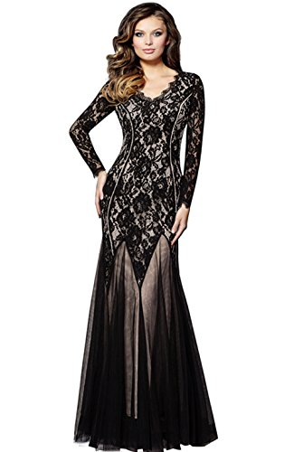 [Merope J Womens Lace Floral V Neck Full Length Mesh Gown Dress(M,Black)] (Wine Inspired Halloween Costumes)