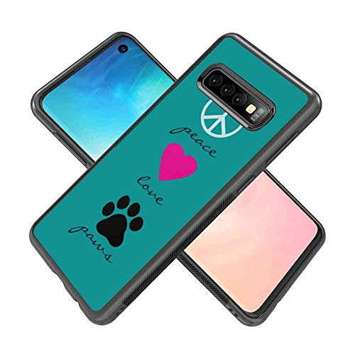 (Case TPU+PC Compatible for Samsung Galaxy S10 (2019) [6.1-Inch] Peace Love Paws Peace Sign Mark Symbol Pink Rose red Heart Dog pet Paws Love Quotes)