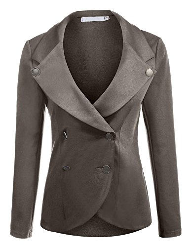 Elesol Women's Slim Fit Blazer Casual Work Double Breasted Peplum Crop Jacket Icon