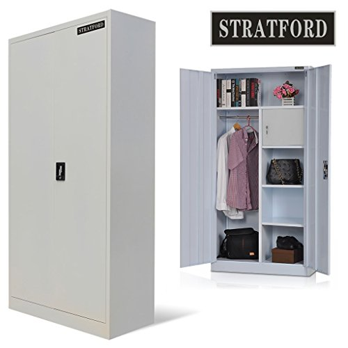 Stratford steel storage cupboard wardrobe metal shelving tool cabinet 185cm  tall