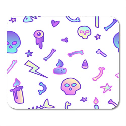 Semtomn Gaming Mouse Pad Cute in Pastel Colors on White 80S Goth Great for Halloween Party and Flyers 9.5