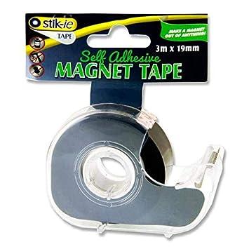 Stik-ie - Cinta magnética autoadhesiva fuerte de 3 m x 19 mm + dispensador x