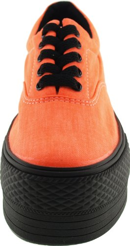 Shoes Orange Color Maxstar Oxford Canvas Sneakers Solid Platform xEwY1q0w