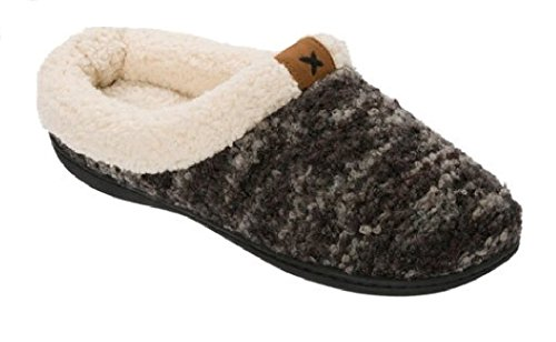 Dearfoams Womens Clog With Tab and Stitch Detail Memory Foam Slipper Black Multi LpCNWusHt