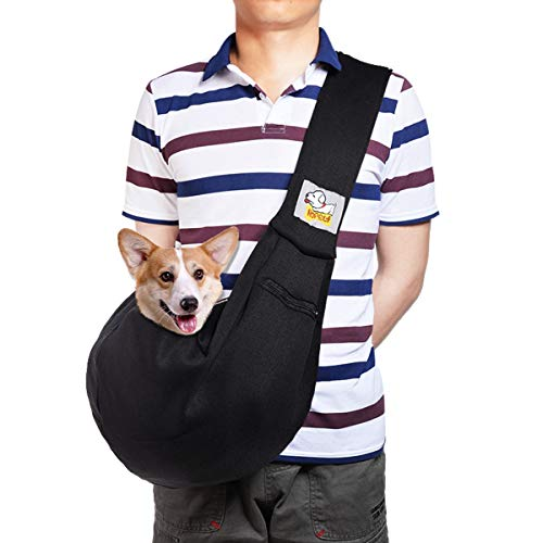 HOPELF Pet Dogs Cats Small Animals Sling Carrier with Pocket Hands Free Reversible Puppy Outdoor Travel Bag Purse (Black Adjustable)